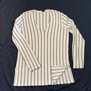 Theory Sweater Off White Black Stripe Size 8